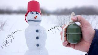 Experiment: Snowman vs XXL Fireworks & Firecrackers