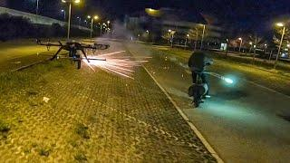 New Drone Anti Cyclist - Incredible video - Drone With Fireworks  - Rocket