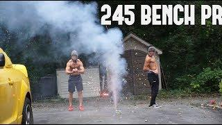 245 BENCH PR! 15 YEARS OLD! | LIFTING WITH FIREWORKS!