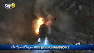 Car catches fire doing donuts over fireworks #LA