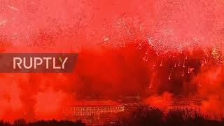Russia: Fireworks light up Moscow skies for Victory Day