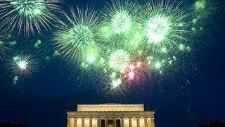 Fireworks explode over the National Mall on Independence Day