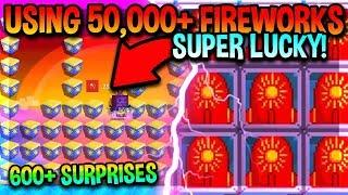 USING 50,000+ FIREWORKS (SUPER LUCKY) | Growtopia