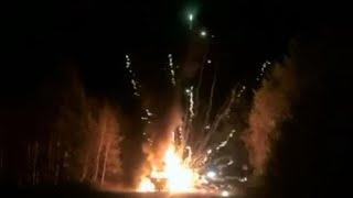 Truck loaded with fireworks catches fire in Russia