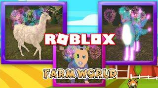 ROBLOX FARM WORLD Special CCARA LLAMA New Animal Update * FIREWORKS * Rare Baby & Kitsune Upgraded!