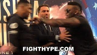 (WOW!) JARRELL MILLER SHOVES ANTHONY JOSHUA ACROSS STAGE; FIREWORKS ERUPT, TRADE WORDS & SEPARATED