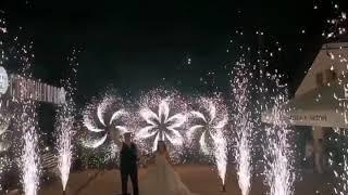 Сценические холодные фонтаны на свадьбу  и пиротехнические вертушки