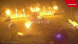SHOWVEN CIRCLE FLAMERs shows with fireworks in Wuhan
