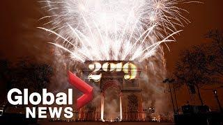 New Year's 2019 fireworks illuminate Paris' Arc de Triomphe Red Square