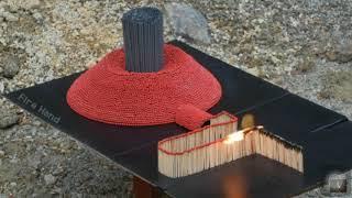 Огненное домино из спичек . 10000 спичек и 1000 бенгальских огней