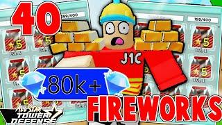 SPENDING 80,000+ GEMS To Get 40 FIREWORKS...?!? And This What Happens!! in All Star Tower Defense