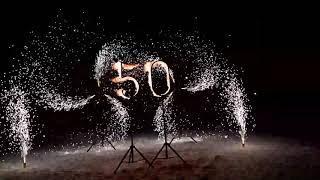Огненные цифры и пиротехнические вертушки на 3 фонтана