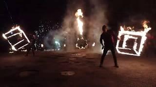 Фаер шоу в Чернигове. Reiton. Огненные кубы