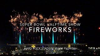 Fireworks during the Halftime Show at the Super Bowl at Hard Rock Stadium in Miami Florida