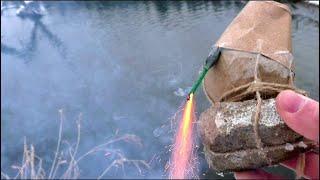 Что будет если зажечь фейерверк под водой Жесть!!!!