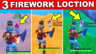 3 FIREWORKS LAUNCH LOCATION - FORTNITE WEEK 4 CHALLENGE - LAUNCH FIREWORKS