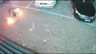 Boy puts lit fireworks down manhole cover, blows up sidewalk
