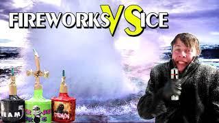 FIREWORKS vs ICE experiment FIRECRACKER vs FROZEN LAKE