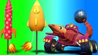 AnimaCars - The Wrecking Ball LIZARD is scared of FIREWORKS - kids cartoons with trucks & animals