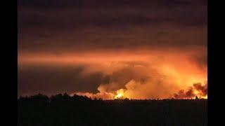 Взрыв на складах боеприпасов в Ичне: первые кадры пожара в Черниговской области