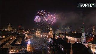 Fireworks light up Moscow skyline for Victory Day