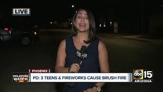 Three teens and fireworks cause brush fire