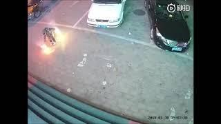 Boy puts lit fireworks down manhole cover, blows up sidewalk