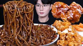 간짜장 슈프림양념치킨 짜장면 치킨 먹방ASMR MUKBANG  BLACK BEAN NOODLES & FRIED CHICKEN 甘いチキン ジャージャー麺 eating sounds