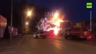 Out-of-control fireworks display | Rostov-on-Don sky set alight amid massive blaze at market
