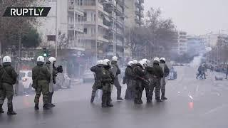 Fireworks clash | Greek anti-lockdown protesters scuffle with police