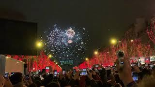 New Year's Eve 2019 Fireworks Paris' Arc de Triomphe on Champs-Elysees