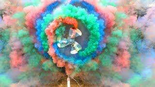 Table fan vs Colored Smoke, Stroboscope and Fireworks Fountains