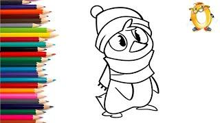 Раскраска для детей ПИНГВИН. Мультик - Раскраска. Учим цвета II ОБУЧАШКА ТВ