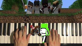 Minecraft Dream Fireworks Crossbow Music (Piano Tutorial Lesson) | Dream vs 4 Hunters Grand Finale