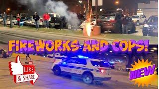 SHOOTING FIREWORKS AT CAR MEET *CARS VS COPS* Chicago edition