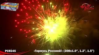 РС9245 Горжусь Россией! Батарея салютов 308 залпов до 38 м, калибрами 1 дюйм 1,2 и 1,5 дюйма