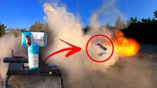 Эксперимент|Пушка+мука+мощная петарда|Взорвал муку| Gun + flour + firecracker|Тест петард