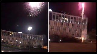 Liverpool supporters set off fireworks outside Barcelona's team hotel at 4:30am this morning