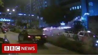Fireworks attack injures Hong Kong protesters - BBC News