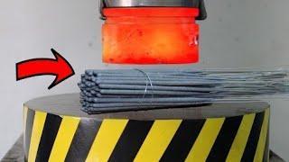 Раскалённый 1000 градусов гидравлический пресс 100 тонн против бенгальских огней