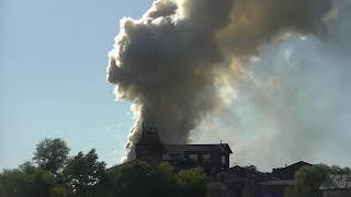 Пожар взрыв на складе пиротехники в Лужниках Москва