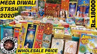 DIWALI STASH 2020 | 60 Different Types of Fireworks & Crackers Stash - Wholesale Price
