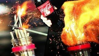 Experiment: Coca-Cola VS sparklers and matches is a mega cool reaction.