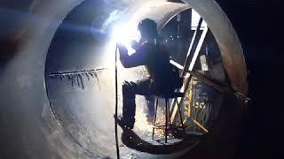 Spectacular welder boilermaker arc air carbon gouging slow motion fireworks