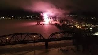 Bill Thorpe Walking Bridge 2020, Reopening. Fireworks from the Air at the end of video..