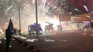 Extreme fireworks display in Russia as pyrotechnics store catches fire