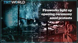 Fireworks mark opening ceremony of Olympics amid protests