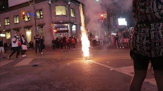 Raptors Fans Shoot Fireworks Downtown Toronto