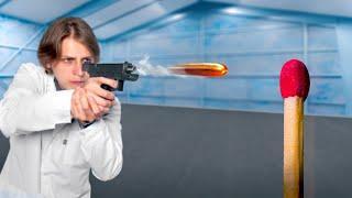 Поджег спичку выстрелом из пистолета!