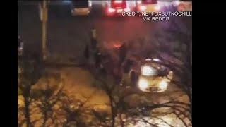 Video shows group shooting fireworks into car